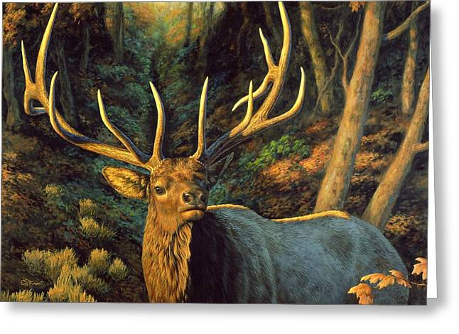 Big Game Greeting Cards - Elk Painting - Autumn Majesty Greeting Card by Crista Forest
