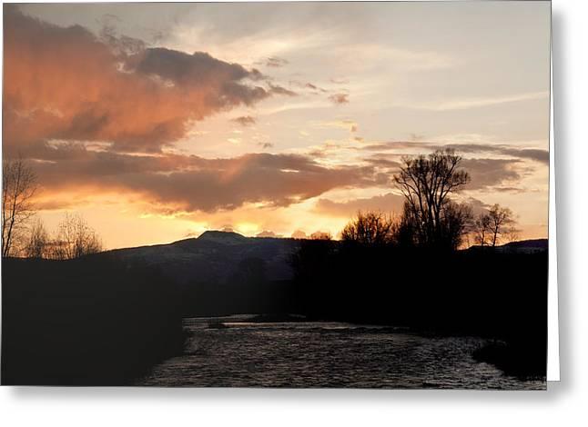 Elk River N Pilots Nob Sunset Greeting Card by Daniel Hebard