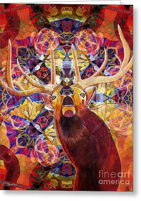 Elk Spirits In The Garden Greeting Card by Joseph J Stevens