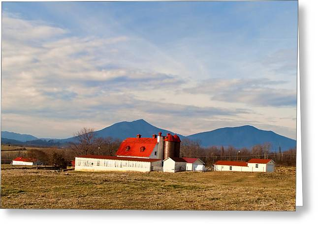 Red Roofed Barn Greeting Cards - Elks Barn Greeting Card by Rebecca Raybon