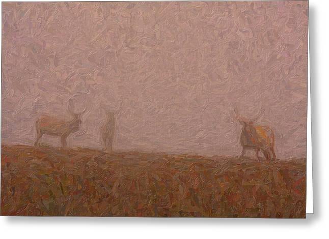 Gemsbok Greeting Cards - Elks in the fog Greeting Card by Celestial Images