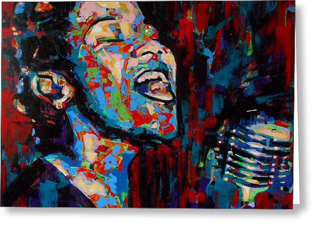 Nina Simone Greeting Cards - Ella Fitzgerald Greeting Card by Angie Wright