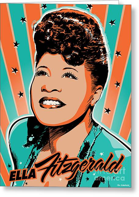 Business Digital Greeting Cards - Ella Fitzgerald Pop Art Greeting Card by Jim Zahniser