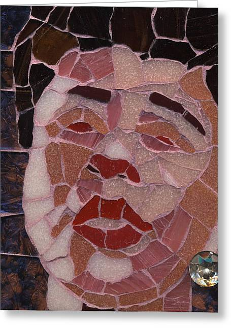 Celebrities Glass Art Greeting Cards - Ella Greeting Card by Gila Rayberg
