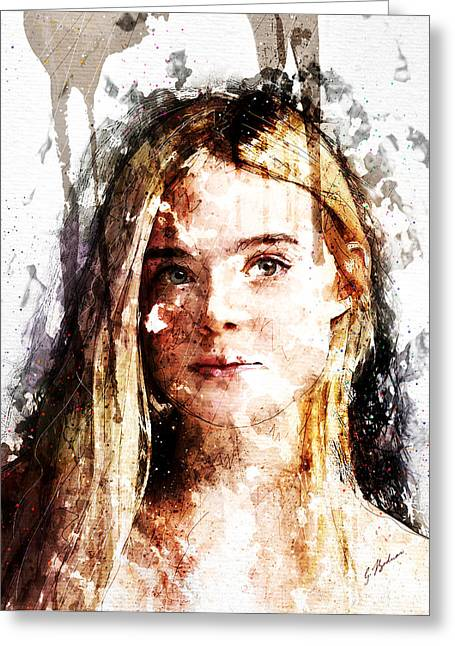 Girl Face Greeting Cards - Elle Fanning Greeting Card by Gary Bodnar