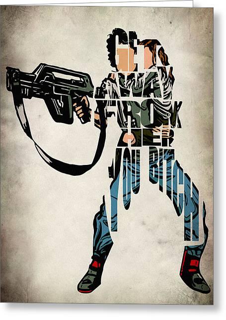 Comic Alien Greeting Cards - Ellen Ripley from Alien Greeting Card by Ayse Deniz