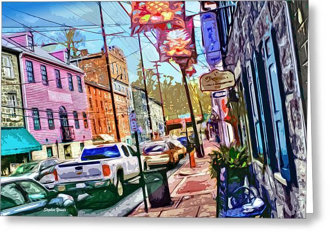 Ellicott Greeting Cards - Ellicott City Street Greeting Card by Stephen Younts