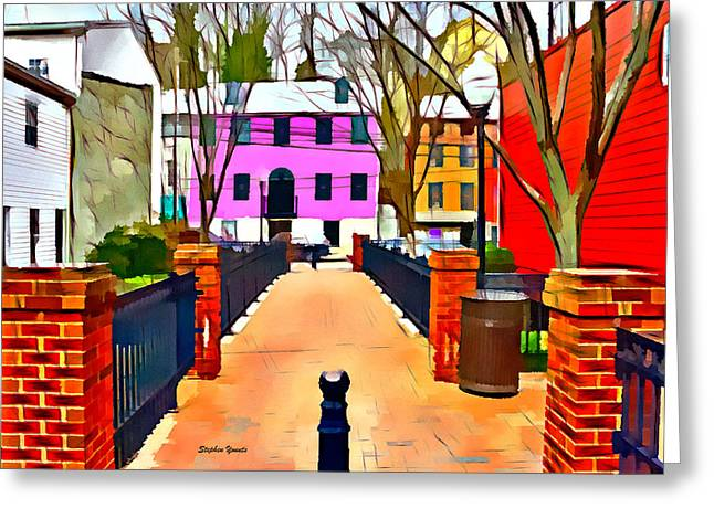 Ellicott Greeting Cards - Ellicott City Walkway Greeting Card by Stephen Younts