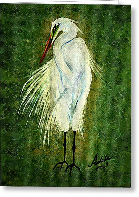 Great White Egret Greeting Cards - Ellie Egret Greeting Card by Adele Moscaritolo