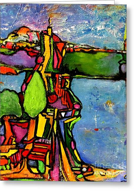 Elliott Bay Greeting Card by Chaline Ouellet