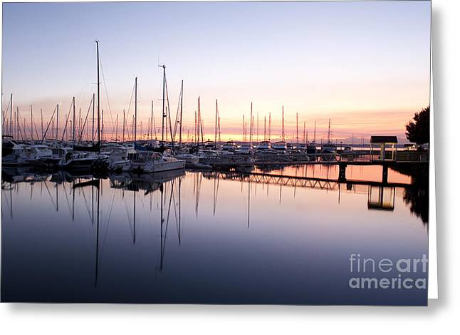 Docked Sailboat Greeting Cards - Elliott Bay Marina Sunset Greeting Card by Jim Corwin