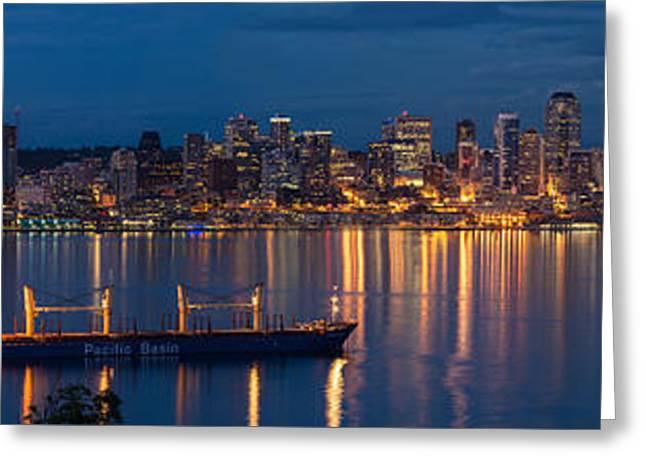 Elliott Bay Seattle Skyline Night Reflections  Greeting Card by Mike Reid