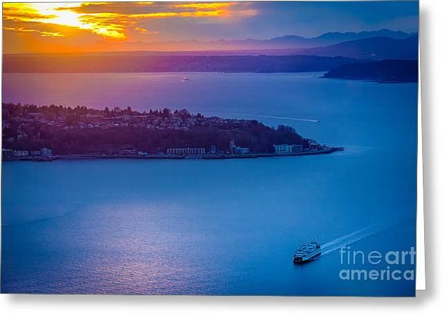Architecture Greeting Cards - Elliott Bay Sunset Greeting Card by Inge Johnsson