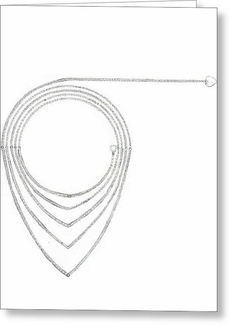 Giuliano Capogrossi Colognesi Greeting Cards - Ellipse Heart Necklace Greeting Card by Giuliano Capogrossi Colognesi