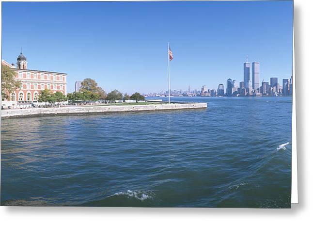 Ellis Island, Manhattan Skyline, New Greeting Card by Panoramic Images