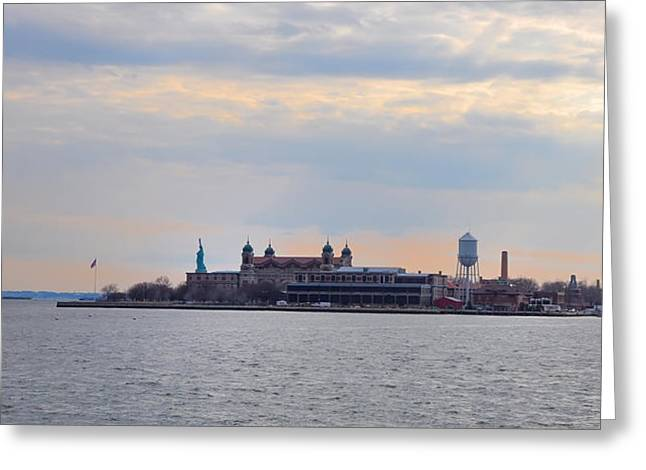 Genealogy Greeting Cards - Ellis Island with the Statue of Liberty Greeting Card by Bill Cannon