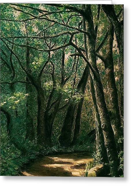 Hiking Pastels Greeting Cards - Ellis Wood Greeting Card by Anne Ingelbach
