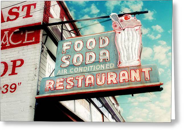 Aqua Blue Greeting Cards - Elliston Place Soda Shop Greeting Card by Amy Tyler