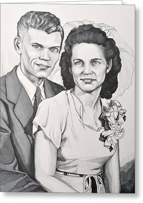 Grayscale Drawings Greeting Cards - Ells and Lucy Greeting Card by Tyler Auman