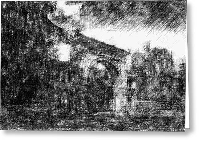 Elm Digital Art Greeting Cards - Elm Grove In Black and White Greeting Card by Alice Gipson
