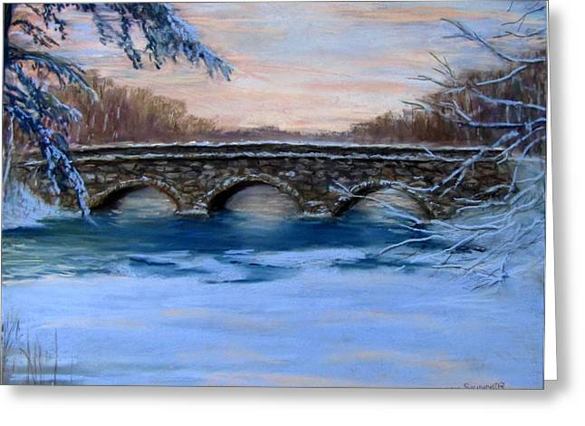 Concord Pastels Greeting Cards - Elm Street Bridge on a Winters Morn Greeting Card by Jack Skinner