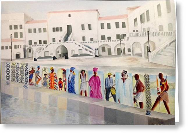 Slavery Paintings Greeting Cards - Elmina Castle Ghana Greeting Card by Valerie  Tyalin Hutchinson-Morgan