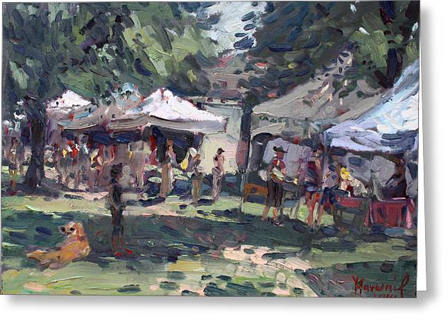 Shopping Greeting Cards - Elmwood-Bidwell Farmers Market Greeting Card by Ylli Haruni