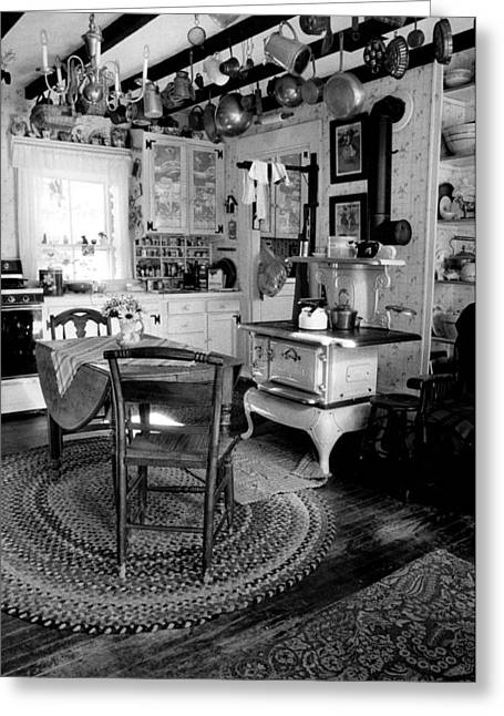 Old Maine Houses Greeting Cards - Eloises Kitchen BW Greeting Card by Cindy McIntyre