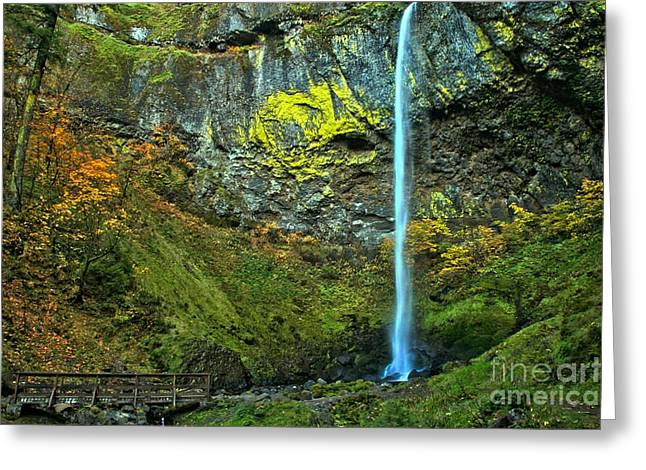 Elowah Falls Greeting Card by Adam Jewell