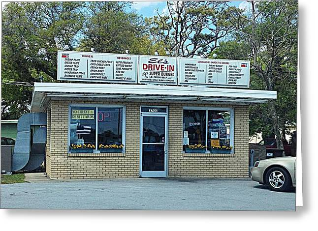 Morehead Greeting Cards - ELs Drive-In Greeting Card by Joan Meyland