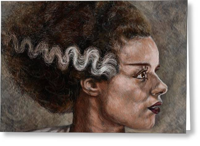 Universal Monsters Greeting Cards - Elsa Lanchester is The Bride of Frankenstein Greeting Card by Neil Feigeles