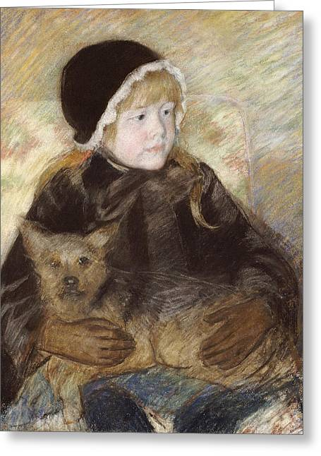 Cassatt Greeting Cards - Elsie Cassat Holding A Big Dog Greeting Card by Celestial Images