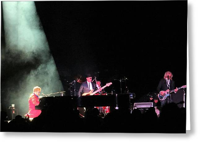 Elton John Photographs Greeting Cards - Elton And Band Greeting Card by Aaron Martens