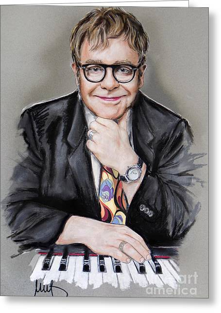 Pianist Greeting Cards - Elton John Greeting Card by Melanie D