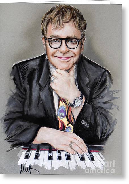 Elton John Greeting Card by Melanie D