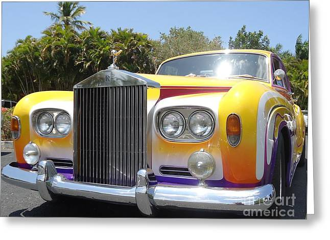 Collector Hood Ornament Greeting Cards - Elton Johns Old Rolls Royce Greeting Card by Barbie Corbett-Newmin