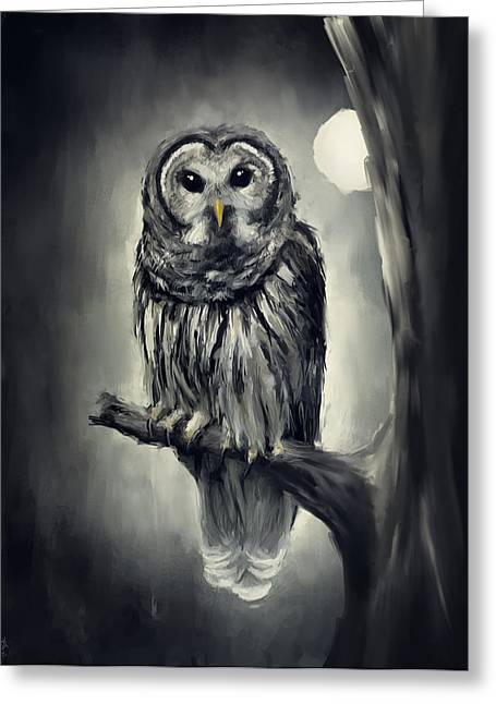 Mysterious Digital Greeting Cards - Elusive Owl Greeting Card by Lourry Legarde