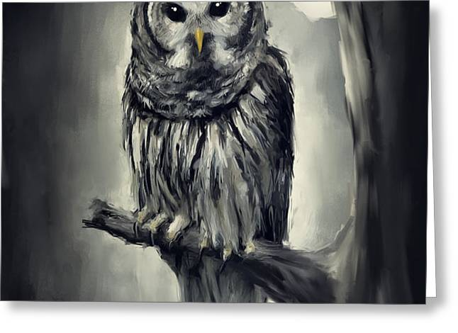 Elusive Owl Greeting Card by Lourry Legarde