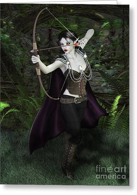 Elven Archer Greeting Cards - Elven Archer Female Greeting Card by Elle Arden Walby