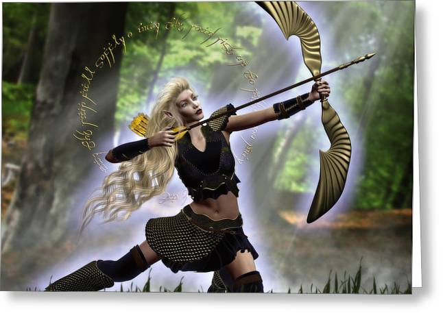 Elven Archer Greeting Cards - Elven Archer Greeting Card by Suzanne Amberson