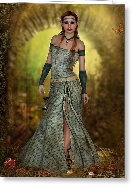Maiden Mixed Media Greeting Cards - Elven Maiden Greeting Card by Sharyn Yee