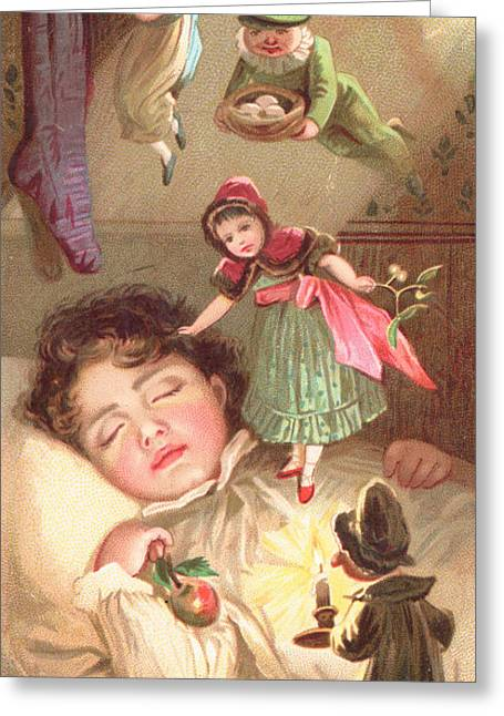 Nightdress Greeting Cards - Elves Delivering Christmas Gifts Greeting Card by English School