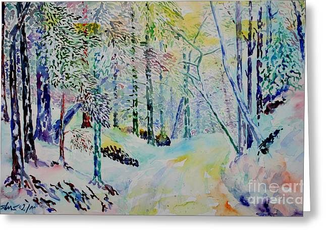 Winterly Forest Greeting Cards - Elves Way Greeting Card by Alfred Motzer