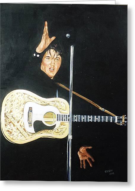1950s Movies Paintings Greeting Cards - Elvis 1956 Greeting Card by Bryan Bustard