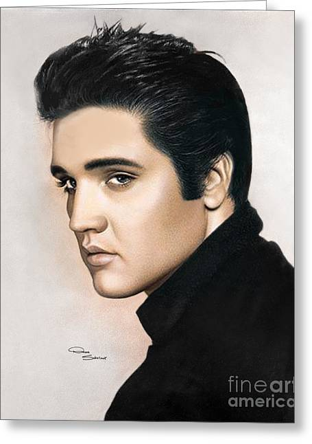 Tennessee Drawings Greeting Cards - Elvis 1968 Greeting Card by Donna  Schellack