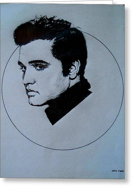1950s Portraits Greeting Cards - Elvis Presley Greeting Card by Sean Connolly