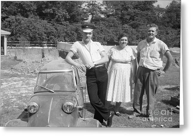 Memphis Tennessee Greeting Cards - Elvis and his Messerschmitt with Vernon and Gladys Presley 1956 Greeting Card by The Phillip Harrington Collection