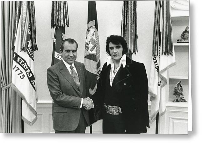 Presley Greeting Cards - Elvis and Nixon Greeting Card by Unknown
