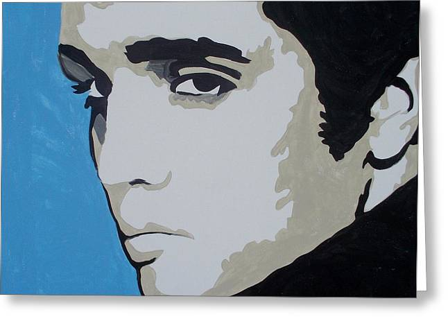 Sideburns Paintings Greeting Cards - Elvis Blue Greeting Card by Marisela Mungia