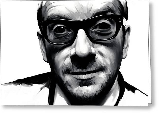 Costello Greeting Cards - Elvis Costello Artwork Greeting Card by Sheraz A